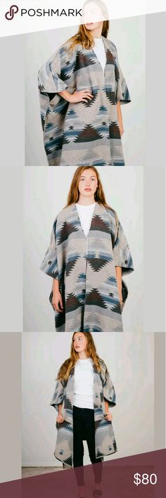 Thread Supply Blanket Poncho Sweater Jacket NWT Thread Supply Womens Jacket Southwest Hippie Boho Aztec Blanket Poncho Sweater ONE SIZE Fits OS Regular & Plus Sizes- Brand new with tags.   Type: Jacket Style: Blanket Poncho Brand: Thread & Supply Size: One Size Material: 100% Polyester - Feels like wool blend Color: Gray & Blue Measurements: FITS ONE SIZE REGULAR & PLUS SIZES ( ANY & ALL ) Condition: New with tags  Country of Manufacturer: China Stock Number: Closet thread Supply Jackets…
