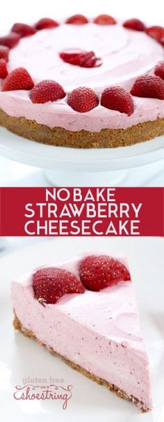 The perfect smooth and creamy no bake strawberry cheesecake, made with strawberries, cream cheese and whipped cream, plus a bit of gelatin and sugar.So quick and easy, it's the perfect warm weather treat! http://glutenfreeonashoestring.com/no-bake-strawberry-cheesecake/
