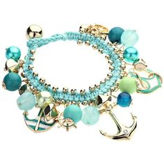 Aqua Green Nautical Bracelet with Gold Tone Anchor ($36) ❤ liked on Polyvore featuring jewelry, bracelets, nautical anchor jewelry, goldtone jewelry, anchor jewellery, aqua blue jewelry and anchor jewelry