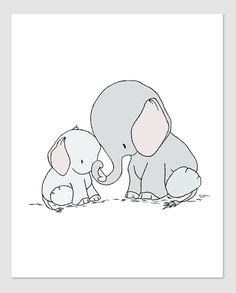 Elephant Nursery Art - Elephant Mama and Baby - You Are Mine