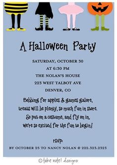 Costume party childrens birthday party invitations by jill means at costume party kids halloween party invitations filmwisefo