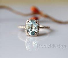 14K Rose Gold Aquamarine Ring Half Eternity Halo Diamond VS 7*9mm Oval Cut Aquamarine Engagement Ring Gemstone Ring Engagement Gift by RobMdesign on Etsy https://www.etsy.com/listing/233071797/14k-rose-gold-aquamarine-ring-half