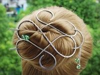 Wish | Large Celtic Hair Clip Made with Nickel Silver Wire, Silver Hair Bun Holder for long thick Hair,Gift for women