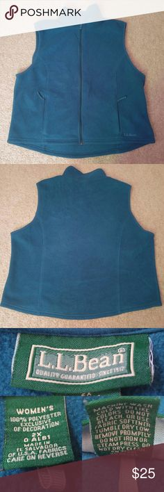 LL BEAN Deep Blue Green Zip Up Fleece Vest 2X 20W BRAND: L.L. Bean  CONDITION: Gently used condition, minor wear. Please view all pictures for more details.  SIZE: Women's 2X  20W  FLAT MEASUREMENTS (approximate): Width -armpit to armpit- 49.5 inches (doubled) Length -shoulder to hem- 24.25 inches   CLOSURE: Zipper  STYLE: Fleece vest  COLORS: Deep blue-green Colors shown in pictures may vary slightly from the actual item, due to different lighting and/or screen resolutions.   MATERIALS…