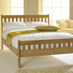 St George Light Solid Oak Bed Frame 4ft6 Double. To find out more visit http://www.oakworthfurniture.co.uk/st-george-light-solid-oak-bed-frame-4ft6-double.html#.UpoTfsS-2m4