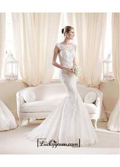 Alluring Tulle & Satin Bateau Neckline Natural Waistline Mermaid Wedding Dress