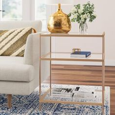 Freman Glass Top End Table Color: Warm Gold Glass Top End Tables, End Tables With Storage, Etagere Bookcase, Gold Table, Upholstered Bench, Joss And Main, Beige Area Rugs, Adjustable Shelving, Decoration