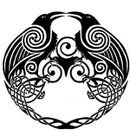 not sure where this is from but would make a cool tattoo- celtic knots, swirls, ravens/crows, love it