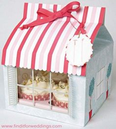Patisserie Shop cupcake boxes wedding favors party decorations www.finditforweddings.com