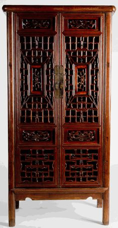 Antique Asian Furniture: Cabinet with Carved Panels from Shanxi Province, China