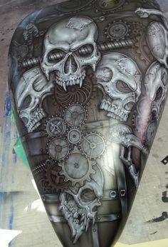 Custom Painting by Deano Custom Paint Motorcycle, Motorcycle Tank, Airbrush Skull, Airbrush Designs, Mechanical Art, Biker Quotes, Air Brush Painting, Bobber Chopper, Custom Paint Jobs