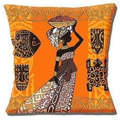 """African Tribal Lady Basket Orange Brown Shades Ethnic - 16"""" Pillow Cushion Cover"""