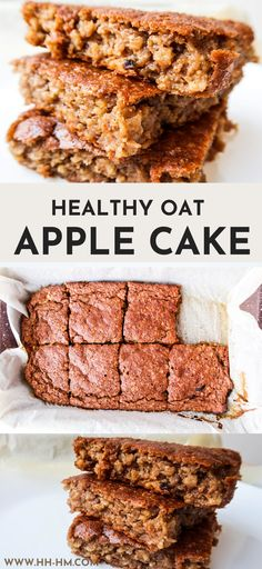 Healthy Breakfast Oatmeal Apple Cake (Flourless) - Her Highness, Hungry Me Healthy Oat Cookies, Healthy Apple Cake, Vegan Apple Cake, Healthy Cake Recipes, Vegetarian Breakfast Recipes, Healthy Baking, Baking Recipes, Sugar Free Apple Recipes, Sugar Free Baking