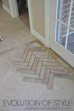 brick flooring Installing a brick tile floor - herringbone pattern Brick Tile Floor, Herringbone Tile Floors, Brick Pavers, Brick Flooring, Diy Flooring, Concrete Floors, Bathroom Flooring, Kitchen Flooring, Herringbone Pattern