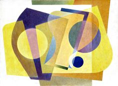 """Frank Hinder Yellow abstract (Painting no.1), 1948 paintings, tempera and pencil on canvas mounted on composition beard  Primary Insc: signed and dated lower right, green watercolour: """"F.C. HINDER 48"""""""