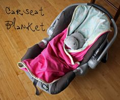 "DIY Car seat blanket - sooo much better than those all-over covers when it comes to cleaning up puke (or a ""code brown""!) Just whip it off, throw it in the wash, and you're good to go!"