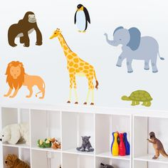 Zoo Animals - Set of 6 - Printed Wall Decals Stickers Graphics