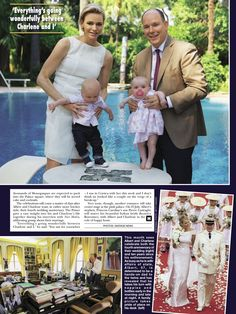gojennifer20: Hello! magazine interview and photos with the Monaco Princely Family, May 2015-Princess Charlene holding Jacques and Prince Albert holding Gabriella with insets of Albert's office and the couple's 2011 wedding