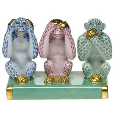 Herend Kingdom Classic Three Wise Monkeys Figurine | Wildlife Figurines | Herend Figurines | Collectibles | ScullyandScully.com
