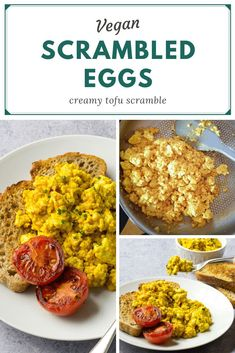 Creamy Vegan Scrambled Eggs - made from crumbled tofu - delicious and filling, perfect for a vegan breakfast or brunch #vegan #TheVegSpace Roasted Cherry Tomatoes, Grilled Tomatoes, Scrambled Tofu Recipe, Scrambled Eggs, Vegan Breakfast, Breakfast Ideas, Brown Sauce, Tofu Scramble, Vegan Meal Plans