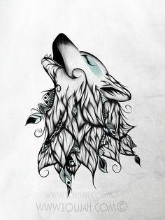LouJah - The Wolf  #art #loujah #wolf #illustration #draw #drawing #dessin #boho #tattoo