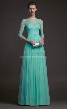 Mother of the bride dress Stunning Light Blue Queen Anne A Line Evening Dress(JT4E-0863)
