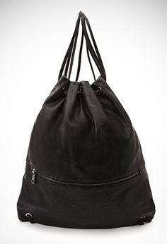 Faux Leather Drawstring Backpack   Forever 21 - 1049258143