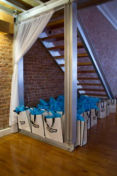 Immersion event gift bags stored away for guests.