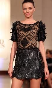 Lace, black on mesh, lace print on a skirt, lacy black knits and cardis, lace with sparkle.  You will seen the chain stores copying the main designers, so all budgets can have a piece of this trend.  Nice!