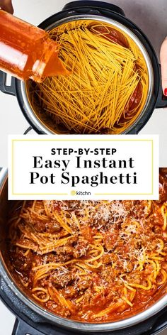 Instant Pot Spaghetti and meat sauce. Need recipes and ideas for fast and easy dinners you can make in minutes? This homemade electric pressure cooker pasta meal is genius. Made with jarred pasta sauc Instant Pot Spaghetti Recipe, Best Instant Pot Recipe, Instant Pot Dinner Recipes, Instant Recipes, Recipes Dinner, Pasta Sauce Instant Pot, Simple Spaghetti Recipe, How To Make Spaghetti, Easy Pasta Recipes