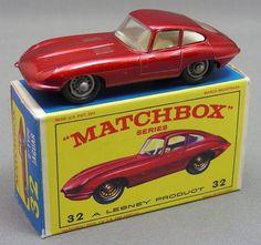 Matchbox car #32 Jaguar XKE (1962).