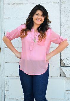 Sheer Pink Cuff Sleeve top - My Sisters Closet