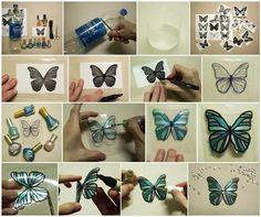 Hacer mariposas con botellas de plastico recicladas.