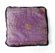 Victorian Silk and Velvet Embroidered Pillow Spiderweb