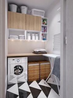 amenagement-buanderie-sol-en-noir-et-blanc-deux-grands-paniers-machine-à-laver-blanche