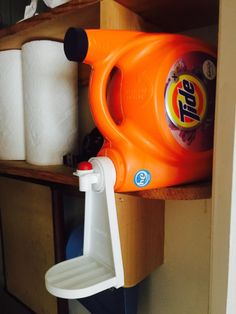 Tidy-Cup Laundry Detergent and Fabric Softener Gadget, fits Most Economic Sized Bottles, no More Drips or Mess Laundry Room Wall Decor, Basement Laundry, Laundry Room Design, Laundry Detergent Storage, Laundry Room Inspiration, Functional Kitchen, Gadgets And Gizmos, Diy Storage, Fabric Softener