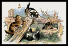 Cross stitch kits by Yiota. From modern and abstract to classical fine art and vintage cross stitch designs. Kits with pre-wound threads on card bobbins. Vintage Cross Stitches, Plastic Canvas Crafts, Counted Cross Stitch Kits, Cross Stitch Designs, Cat Art, Cross Stitching, Cats And Kittens, Cats Playing, Fine Art