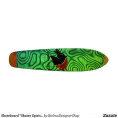 "Skateboard ""Skater Spirit"" Grün+abstraktes Muster"