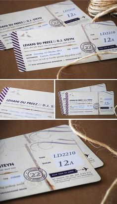 *love* these fun boarding pass save the dates :) made by seven swans