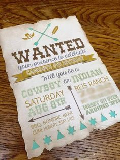 Invitation from a Rustic Cowboys & Indians Birthday Party via Kara's Party Ideas | KarasPartyIdeas.com (31)