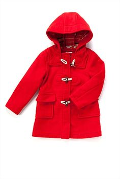 Fire engine red duffel coat from Country Road.