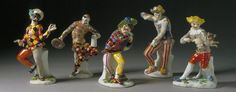 Group of porcelain Commedia dell'Arte figurines, by JJ Kandler for Meissen, Germany, about 1740-43. Museum nos. C.15, 11, 10, 13, 9-1984