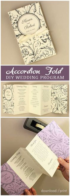 DIY Accordion Fold Wedding Ceremony Program. It has tons of style and tons of space for your ceremony details! http://www.downloadandprint.com/blog/diy-accordion-fold-ceremony-program/