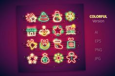 Christmas Colorful Neon Icons by Voysla's Shop on @creativemarket