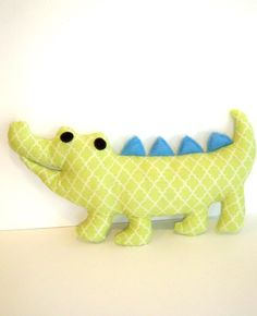 Cobo the green and blue soft toy pillow alligator by LilyRoseCraft, via Etsy. Sewing Toys, Baby Sewing, Softies, Alligator Nursery, Turtle Tots, Crocodile, Fabric Toys, Diy Pillows, Cushions