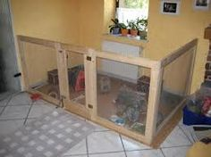 Another good example of a relatively simple yet adequate indoor pen for rabbits.  This style of pen provides good living space, but the rabbits would need daily access to additional exercise space.