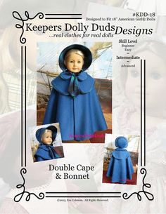 PDF Pattern # KDD-18 Double Cape & Bonnet , An Original KeepersDollyDuds Design  So please to say that KeepersDollyDuds has partnered with well