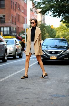Ali Golden coat, Reformation skirt, Phillip Lim shoes