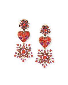 Y2MGC Oscar de la Renta Crystal Stars & Heart Drop Earrings, Red