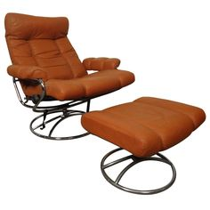 Mid-Century Reclining Chair and Ottoman by Ekornes Stressless   From a unique collection of antique and modern swivel chairs at https://www.1stdibs.com/furniture/seating/swivel-chairs/